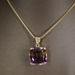 "14KY Gold Genuine Ametrine Pendant W/20"" Chain"